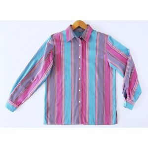 Foxcroft Tops - Multicolored Striped Foxcroft Shirt Size 6